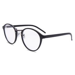 Telai di vetro in plastica neri rotondi online-Occhiali da lettura tondi montati Occhiali da lettura cerniera a molla unisex Uomini eleganti da donna in plastica nera stile retrò