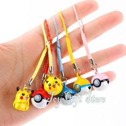 Wholesale Anime Cell Phone Straps - Free Shipping Hot Selling Pikachu Pokeball Poke Ball Cell Phone Strap Toy JINGLE BELLS Dangle Charms