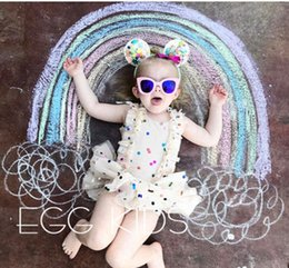 Wholesale Kids Colorful Ball Gown - Baby girls dresses INS toddler kids ruffle tulle tutu dress 2017 colorful sequins princess dress fashion children's day party dress T3180
