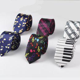 Wholesale Polyester Christmas Necktie - New Style Men's Fashion Neckties Helloween Festival Christmas Tie Soft Designer Character Necktie Music score piano Guitar