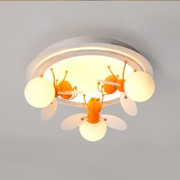 Wholesale firefly lamps - Children's room lights small bees fireflies creative LED cartoon hanging ceiling light early childhood center bedroom study led ceiling lamp