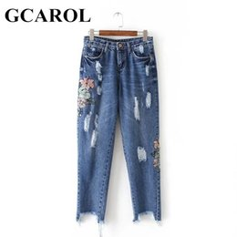 Wholesale Euro Style Pant Women - Wholesale- GCAROL 2017 Women Embroidery Floral Denim Jeans Ripped Design High Quality Euro Style Ankle-Length Jeans Pants XL For Ladies