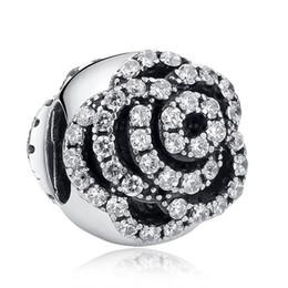 Nueva joyería de plata esterlina 925 auténtica rosa encantos del clip de la flor con cubic zirconia perlas europeas adapta pulseras pandora diy fabricación desde fabricantes