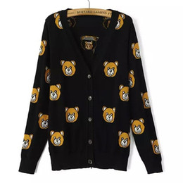Wholesale V Bearings - Wholesale- New 2015 Womens Fall Fashion Cute Bear Jacquard Casual Cardigan Sweater European Autumn Style Cartoon Sueter Feminina