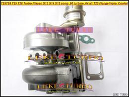 Wholesale T25 Flange - Wholesale T25 T28 T25T28 T25 28 Turbo TurboCharger For Nissan Engine S13 S14 S15 comp .60 Turbine .64 AR T25 Flange Water Cooled