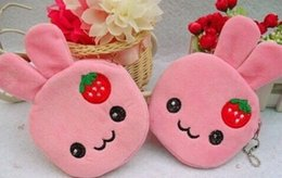 Wholesale Strawberry Coin - Wholesale- 10PCS Kawaii Strawberry Rabbits Coin Purse & Wallet Pouch Case BAG ; Mini Pendant Bags Pouch Beauty Holder BAG Women Handbag