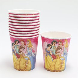 Wholesale Disposable Paper Glass - Wholesale-12pcs Princess Cartoon Paper Drinking Cup Disposable Tableware Girl Kids Happy Birthday Party Decoration Drinking Glass Supplies