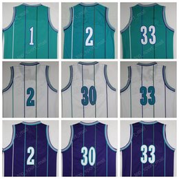 Wholesale Top Quality Retro Basketball Jerseys Tyrone Muggsy Bogues Dell Curry Alonzo Mourning Glen Rice Larry Johnson with player name