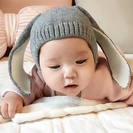 Wholesale Photo Rabbits - 4 Color INS Autumn Winter Toddler Infant Knitted Baby crochet Hats Adorable Rabbit Long Ear Hat Baby Bunny Beanie Caps Photo Props B001