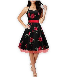 Wholesale Gowns Ancient - 2017 hot Selling SUMMER women's neck hung printing full-skirted dress Restore ancient ways collect waist dress 3 colors size S-2XL