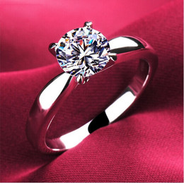 Wholesale Wedding Rings Gold 18k - 18k Classic 1.2ct white gold Plated large CZ diamond rings Top Design 4 prong bridal wedding Ring for Women