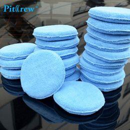 "Wholesale Microfiber Wax - 10pieces lot) Car washer Blue Microfiber Wax Applicator Polishing Sponges pads 5"" Diameter Sponges Car &Motorcycles Accessories"
