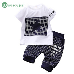 Wholesale Stars Baby Clothing - Wholesale- Baby boy clothes 2017 Brand summer kids clothes sets t-shirt+pants suit clothing set Star Printed Clothes newborn sport suits