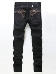 Wholesale Black Embroidered Coat - Robin Jeans Man Printing Coating Rhinestone Decoration Brand Jeans Embroidered The HOMMES In The Spring Autumn Jeans