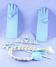 Wholesale Wig Accessories Supplies - 8Color Frozen Tiara Magic Wig Wand Gloves Frozen Party Supplies Set Kid Party Birthday Girls Princess Accessories Gift 4pcs set b519