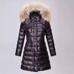 Wholesale Hooded Leather Jackets For Women - M99 Famous Jacket parkas for women winter long jackets anorak woman coats with real raccoon fur hood parka luxury jackets