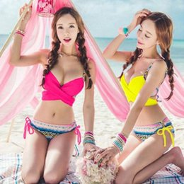 48282bc3ffcce Summer Hot 2017 Sexy Korean Style Sweet Women Bikini Set Girls Beach Swimwear  Push Up Swimsuit Free Shipping