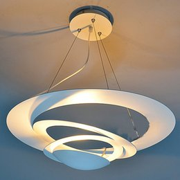Wholesale Ufo Ceiling Light - White Painted Iron UFO Dining Room Ceiling Pendant Lamps Contemporary Living Room Bedroom Dining Room Pendant Lights