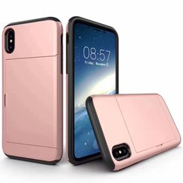 Wholesale Sgp Iphone Case Slim - Brushed SGP Slim Hybrid Case Card Holder Slot Phone Cover For Iphone X 8 7 6 6s Plus Samsung Note 8 S8 Plus With OPP BAG