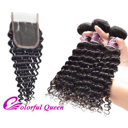 Wholesale Colorful Curly Natural Hair - Colorful Queen Peruvian Virgin Human Hair Deep Curly Weaves 3pcs with Closure Unprocessed Virgin Peruvian Hair Weaves Deep Wave with Closure