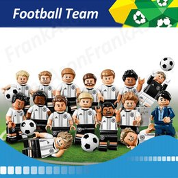 Wholesale 24pcs Football Team Figures Germany Team Soccer Coach Goalkeeper Striker Center Forward Back Figure Mini Building Blocks Figures Toy