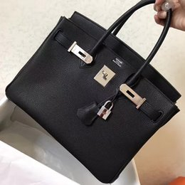 Wholesale Original Leather Handbags - Fashion women handbags Luxury 25 30 35 40cm Brikin gold   silver buckle bags Leather with the original brand H