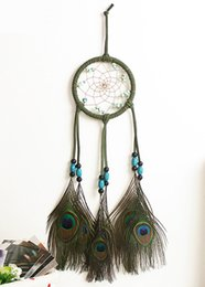 Wholesale Peacock Wall Hangings - Dream Catcher Handmade Ornament Green Circular And Turquoise With Peacock Feathers Wind Chimes Wall Hanging Cars Ornament B951L