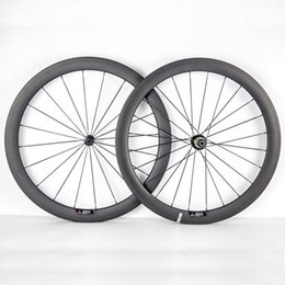 Wholesale 26 Bicycle Wheels - 700C 50mm Depth 23mm Width Full Carbon Bike Wheels Clincher Tubular Bicycle Wheelset With Powerway R36 Hubs Black 20 24 Spokes And Nipples