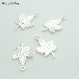 Wholesale Maple Leaf Charms Wholesale - Wholesale 100pcs Fashion bright silver tone maple leaf charms metal pendants for diy jewelry findings 23*15mm A3618