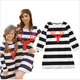 Wholesale Casual Maxi Dresses For Girls - 2017 Christmas Mother and daughter dresses Reindeer Striped dresses for women Family Matching Outfits Kids Baby girl Dress Spring Fall