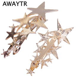Wholesale Hair Bobby Pin Color - AWAYTR 1 Pcs Star Hair Clip Barrettes Hairpin Bobby Pin Jewelry Hair Accessories for Women Lady Girls Gold  Silver Color