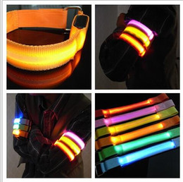 Wholesale Flashing Led Armbands - Party Glowing Bracelet LED lights Flash Bracelet Wrist Ring Nocturnal Warnings Ring Running Gear Glowing Armband