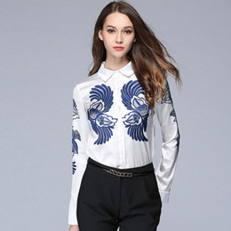 Wholesale Ladies Cotton Shirts Designs - Elegant OL Printing Ladies Shirt Slim Fit Fashion Long Sleeve Novelty Original Design Casual Shirts Plus Size