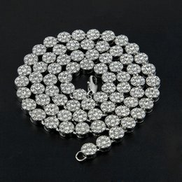Wholesale Simulated Diamonds Jewelry For Men - Mens Hip Hop Necklace Flower Cluster Black Iced Out Chain Necklace Simulated Diamonds 30'' Jewelry For Men High Promtion