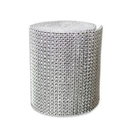 """1611 Free shippingg 4,75 """"x30 FT diamante d'argento scintilla strass avvolge la decorazione di nozze del nastro da danza figurine all'ingrosso fornitori"""