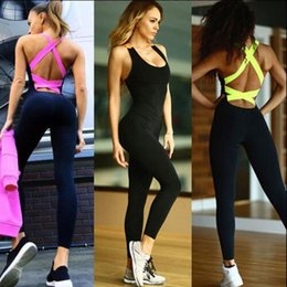 Wholesale Backless Tights - 2017 Gym Fitness Bodysuit Women Running Tight Jumpsuits Sports Yoga Sets Women's Bandage Backless Cross Back Rompers