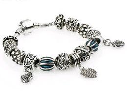 Wholesale Perfect Channel - Lampwork Beads Beaded Bracelet Fashion Europe coloured glaze Perfect Match Heart Shaped pendants Charm Bracelet 17-20cm