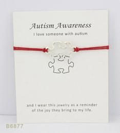 Wholesale wholesale autism awareness charm bracelets - Silver Tone Puzzle Autism Awareness Charm Bracelets Bangles Women Girls Adjustable Friendship Wish Bracelet With Gift Card