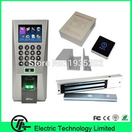 Wholesale Magnetic Lock Access Kit - Wholesale- F18 Kit Fingerprint Door Lock Access Control Sysetm power supply, 280KG Electric Magnetic Lock And ZL Bracket, Touch Switch