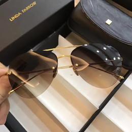 Wholesale Linda Farrow - 2017 Linda Farrow LFL498 Sunglasses Gold Brown Lenes Women Fashion Designer sunglasses Brand New with Box