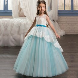 Wholesale Sweetheart Neckline Communion Dress - Scoop Neckline Pageant Party Dresses for Girls 8 Bow Sash Children Graduation Gown Lace Hem Corset Long Kids Puffy Prom Dress