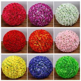 Wholesale Mint Wedding Decorations - 6~ 24 Inch Mint Green Leaf Flowers Ball Silk Rose Wedding Kissing Balls Pomanders Mint Party Centerpieces Decoration Many Colors