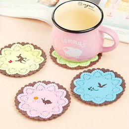 Wholesale Lace Cup Holders - Wholesale- High Grade Animal Coaster Lace Edge Colorful Silicone Cup Drinks Holder Mat Tableware Placemat Free Shipping and Wholesale