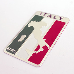 Wholesale Euro Stickers - Aluminum Italy Map Car Badge Auto Styling EURO LOGO Emblem Automobiles motorcycle fuel tank bicycle stickers