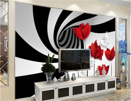 Wholesale Japan Wall Painting - Custom photo 3d wallpaper Non-woven mural black white stripes flowers decoration painting 3d wall murals wallpaper for walls 3d