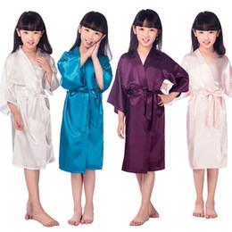 Wholesale Children S Wedding Gowns - Wholesale- 2016 Satin Pajama Kid   Children Sleepwear Wedding Flower girls Gown High Quality Kimono Robes Solid Color Nightgown