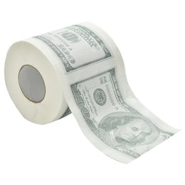 Wholesale Plastic Rolling Papers - Wholesale-One Hundred Dollar Bill Printed Toilet Paper America US Dollars Tissue Novelty Funny $100 TP Money Roll Gag Gift