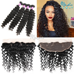 Wholesale Deep Wave Closure Bundles - Malaysian Deep Wave Hair Extensions,1Pcs 13x4 Ear To Ear Lace Frontal With 4Pcs Hair Bundles,Malaysian Virgin Human Hair Wefts With Closure