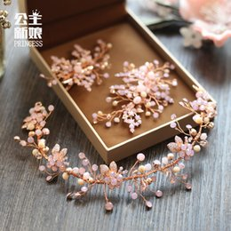Wholesale Korean Hair Jewelry - Korean spring bride headdress Handmade Pink Crystal Hair Clip on wedding wedding jewelry with exquisite minimalist flower