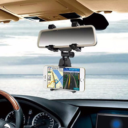 Wholesale Iphone Mirroring Car - Universal support 360 Degrees Car Phone Holder Car Rearview Mirror Mount Holder Stand Cradle For iPhone For Samsung Mobile Phone